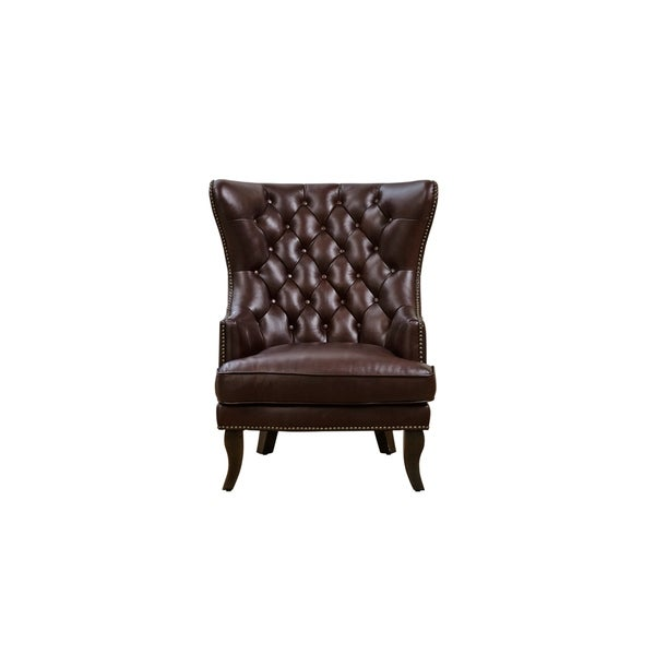 Lazzaro Brown Leather Wingback Chair