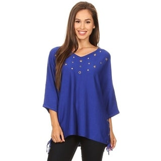 High Secret Women's Solid Eyelet Embellishe Tunic Top (One Size)