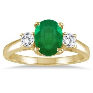 1.35 Carat Emerald and Diamond Three Stone Ring in 14K Yellow Gold