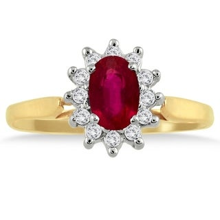 6x4MM Ruby and Diamond Flower Ring in 10K Gold