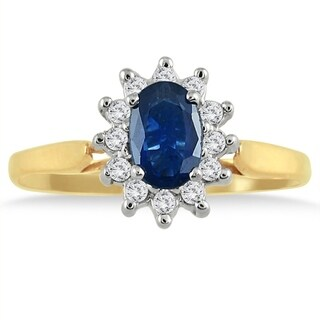 6x4MM Sapphire and Diamond Flower Ring in 10K Gold