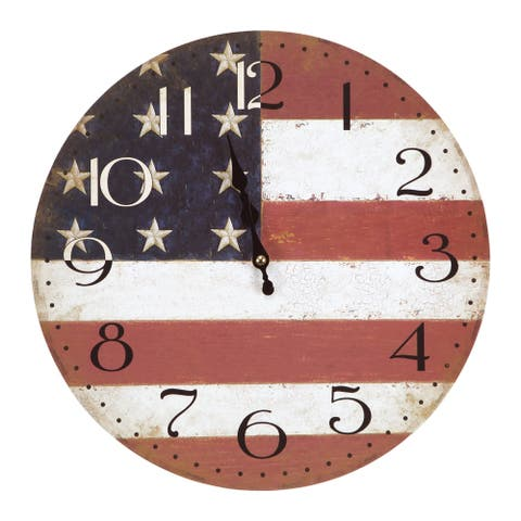 Yosemite Home Décor American Flag Wall Clock
