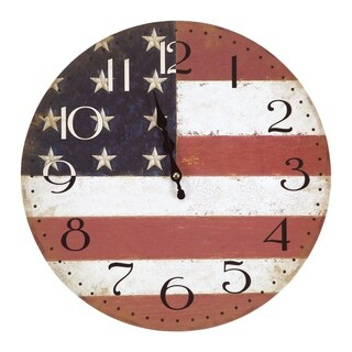 Yosemite Home Décor American Flag Wall Clock
