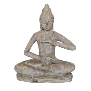 Sagebrook Home 13029-07 Decorative Resin Sitting Buddha, Stone Polyresin, 17 x 9.5 x 20.5 Inches