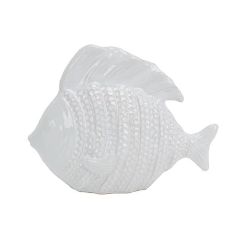Sagebrook Home 13733-08 Decorative Ceramic Fish, White Ceramic, 9.5 x 4 x 8 Inches