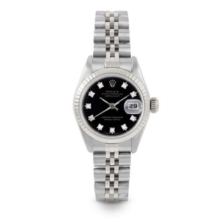 Pre-Owned 26mm Ladies Datejust Watch - 6917 Model - Stainless Steel - Black Diamond Dial - Fluted Bezel - Jubilee Band