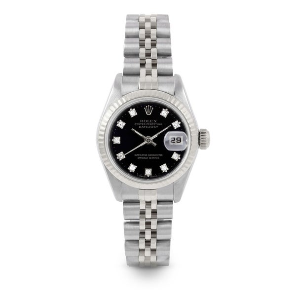 Pre-Owned 26mm Ladies Datejust Watch - Model - Stainless Steel - Black Diamond Dial - Fluted Bezel - Jubilee Band