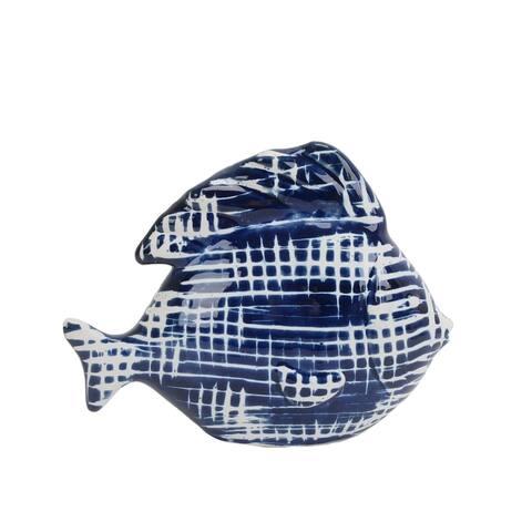 Sagebrook Home 13733-02 Decorative Ceramic Fish , Blue / White Ceramic, 9.5 x 4 x 8 Inches