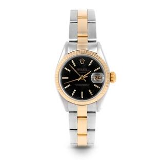Pre-Owned Rolex 26mm Ladies Datejust Watch - 6917 Model - Steel & Yellow Gold - Black Stick Dial - Fluted Bezel - Oyster Band