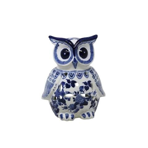 Sagebrook Home 13458-02 Ceramic Owl Decor, Blue/White Ceramic, 7 x 6.5 x 8 Inches