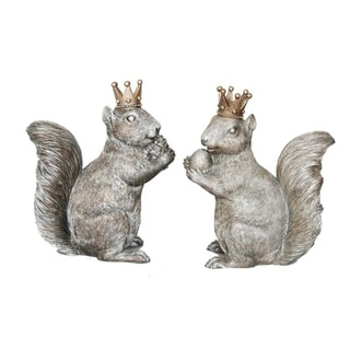 Sagebrook Home AR10431-03 Squirrels W/ Crowns, Gray Polyresin, 4.75 x 2.75 x 6 Inches (Set of 2)