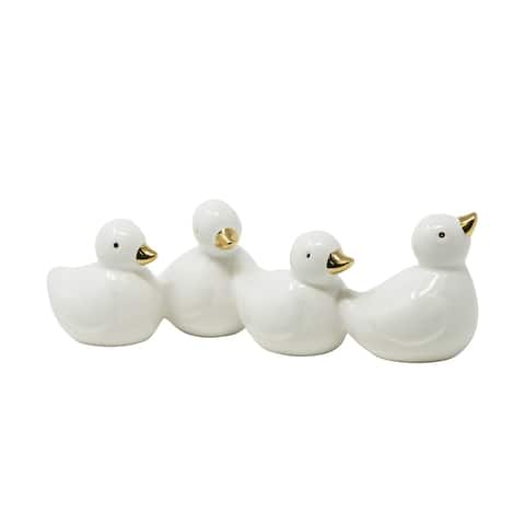 Sagebrook Home 13016-01 Dolomite Four Ducks, White/Gold Dolomite, 8.5 x 2.75 x 2.5 Inches