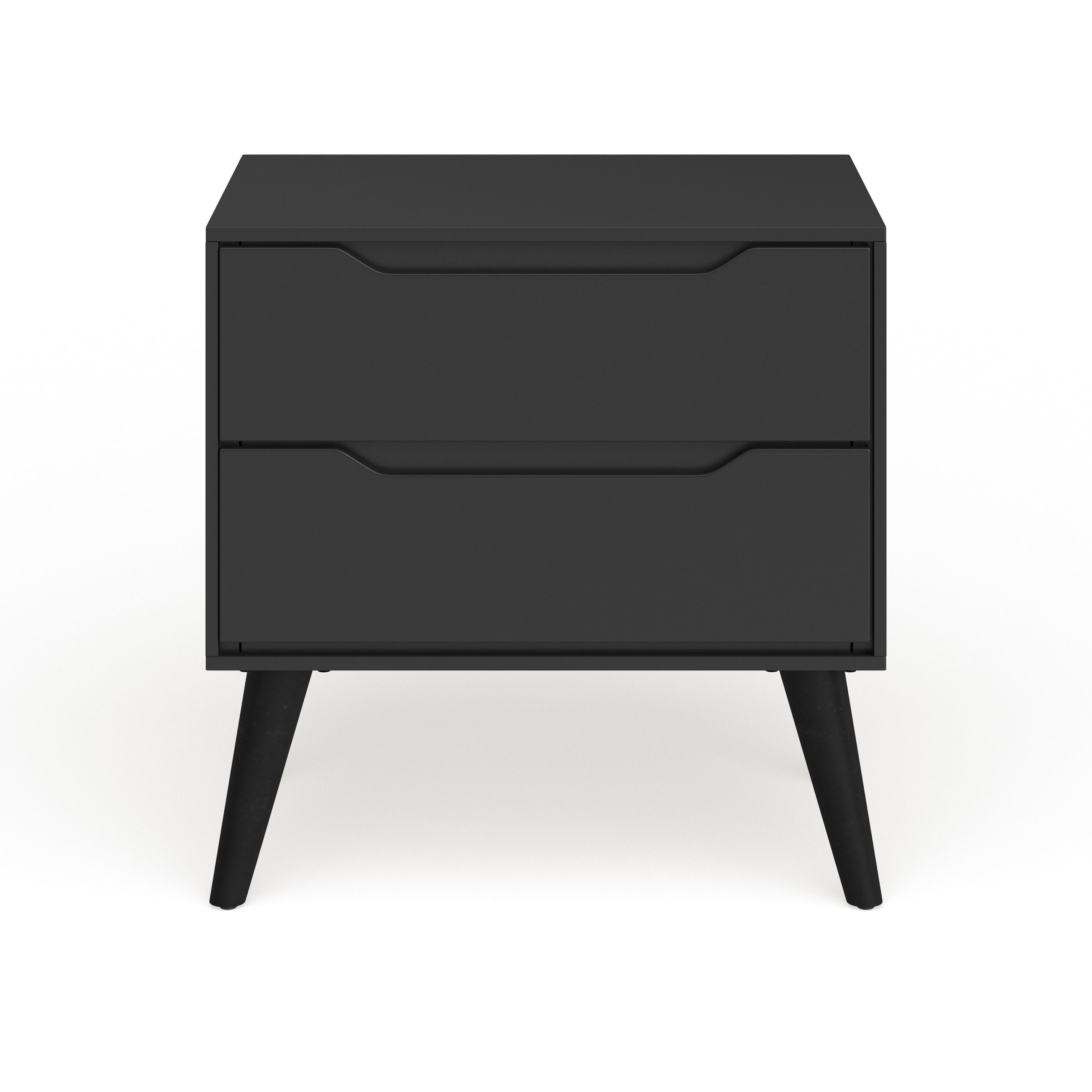 Picture of: Bedside Table With One Black Drawer And Open Shelf Made Of Oak Wood Mid Century Nightstand