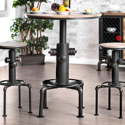 Furniture of America Industrial Black Metal Bar-height Round Table