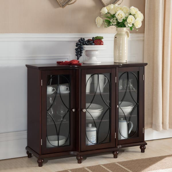 Copper Grove Sonfjallet Dark Brown Cherry Wood Console Table With Gl Doors