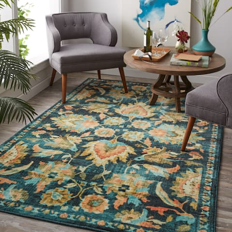 Gracewood Hollow Prokshi Blue Traditional Floral Area Rug - 5' x 8'