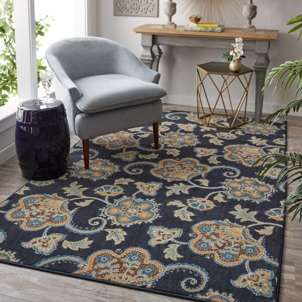 Copper Grove Kanwar Navy Blue/ Tan/ Grey Paisley Floral Area Rug