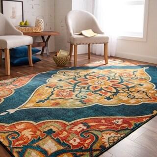 Gracewood Hollow Poliziano traditional diamond area rug - 5' x 8'