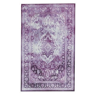 The Curated Nomad Kavanur Blue Distressed Traditional Area Rug - 8 x 10 (Purple)