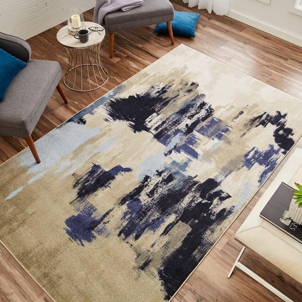 Carbon Loft Appert Beige/ Blue Indoor Rectangular Modern Abstract Area Rug - 8' x 10'