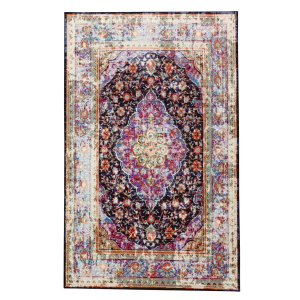 The Curated Nomad Khaptad Purple and Ivory Traditional Distressed Area Rug