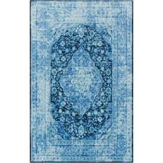 The Curated Nomad Khaptad Blue Traditional Distressed Floral Area Rug