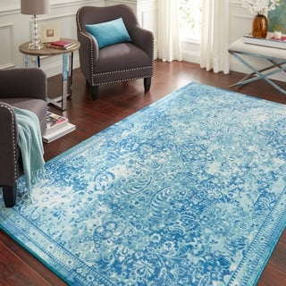 Copper Grove Jawadhu Blue and Beige Traditional Distressed Area Rug