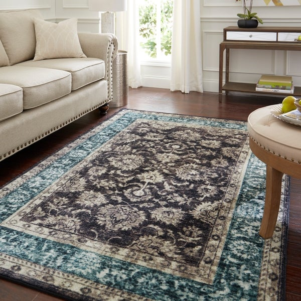 Copper Grove Jawadhu Traditional Distressed Floral Dusk Area Rug