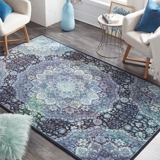 The Curated Nomad Sukhanand Cosmic Geometric Pattern Area Rug - 8 x 10 (8 x 10 - Black/Blue)