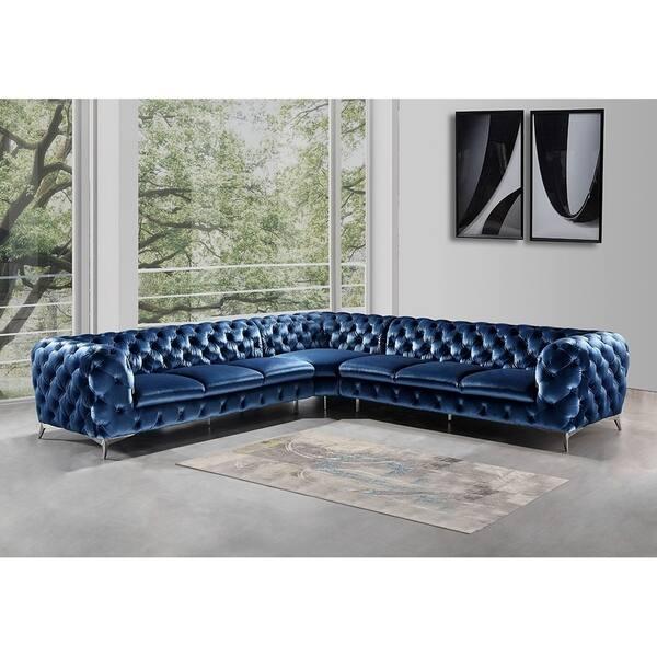 Superb Shop Portaleno Modern Blue Fabric Tufted L Shaped Sofa Andrewgaddart Wooden Chair Designs For Living Room Andrewgaddartcom