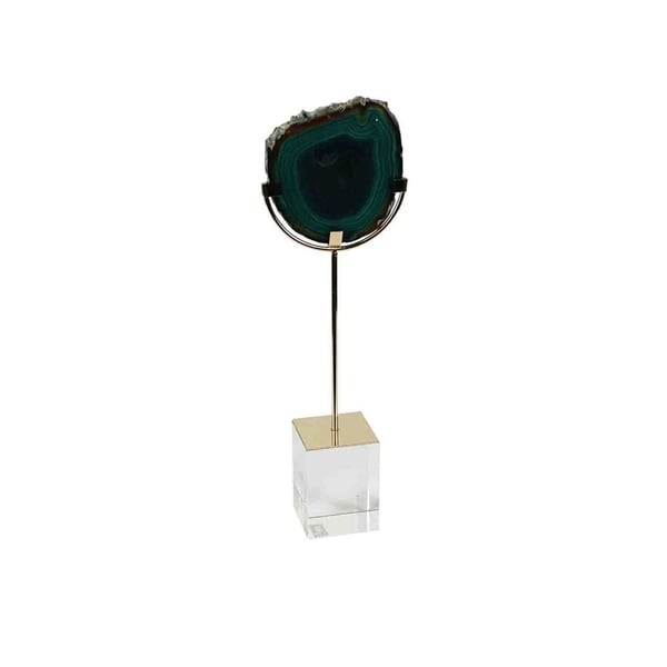 Shop Sagebrook Home 12084 06 Agate On Stand Decor Green Stone 4 25