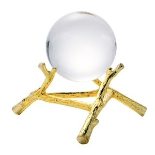 Sagebrook Home 12074-01 Crystal Orb On Base, Gold Polyresin, 7.5 x 7.5 x 6.5 Inches