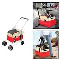 3 in 1 - Pet Dog Stroller Carrier Car Booster Seat Cat Stroller Carrier Seat Red