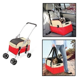 3 in 1 - Pet Dog Stroller Carrier Car Booster Seat Cat Stroller Carrier Seat Red