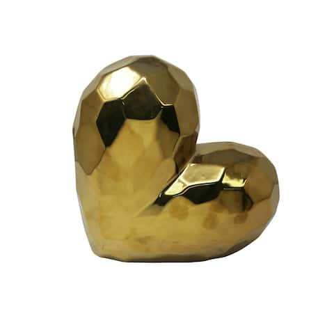 Sagebrook Home 13216-01 Decorative Ceramic Heart, Gold Ceramic, 11.5 x 5.25 x 11.5 Inches