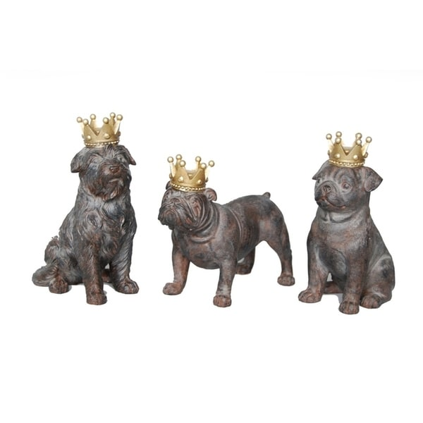 Sagebrook Home AR10431-02 Dogs W/ Crowns, Rust Polyresin, 4 x 2.75 x 6 Inches (Set of 3)