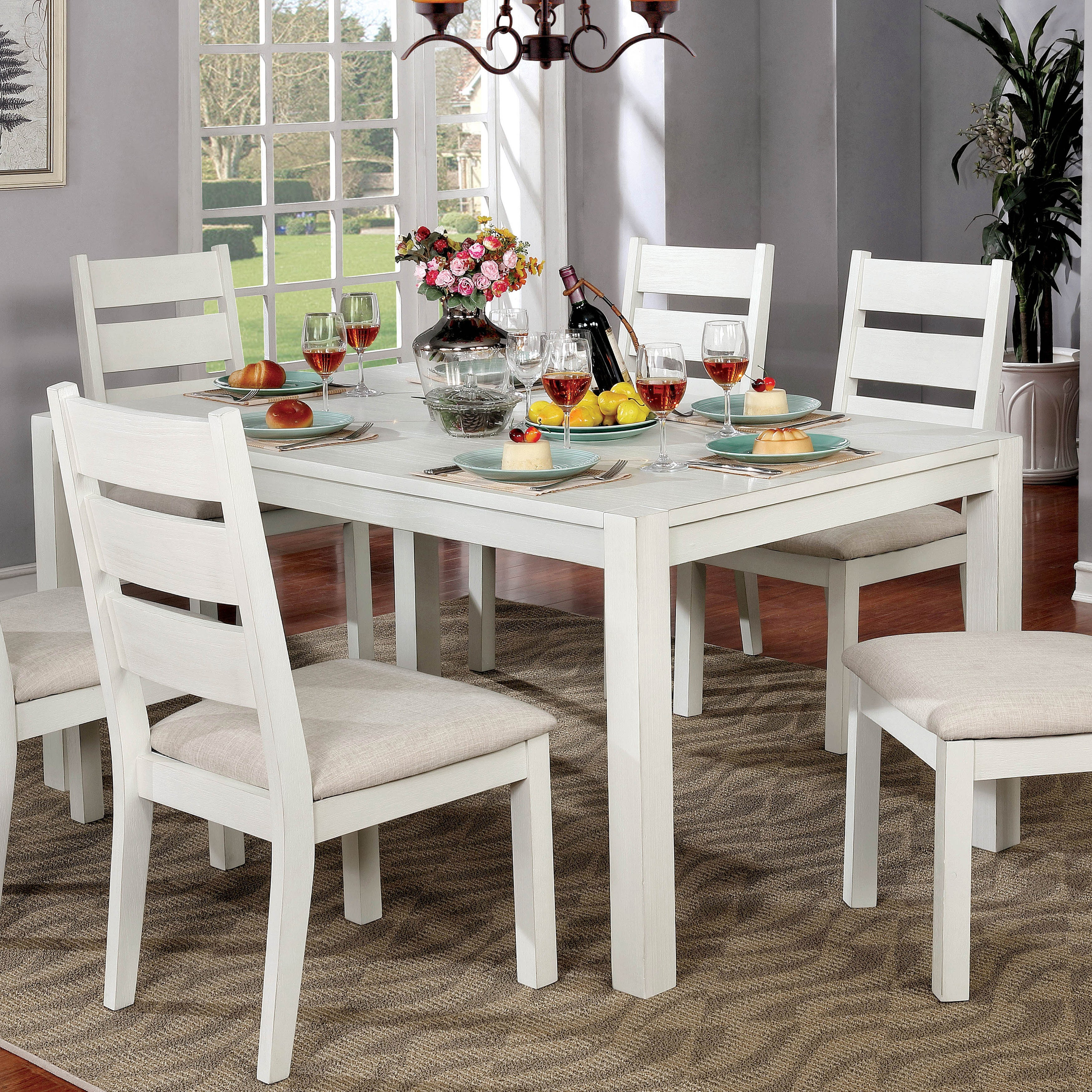 Furniture Of America Ferc Rustic White 64 Inch Solid Wood Dining Table Off