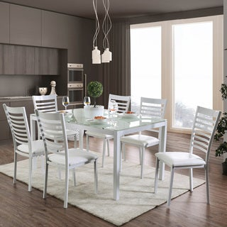 Furniture Of America Parker 60 Inch Metal Glass Top Dining Table   N/A