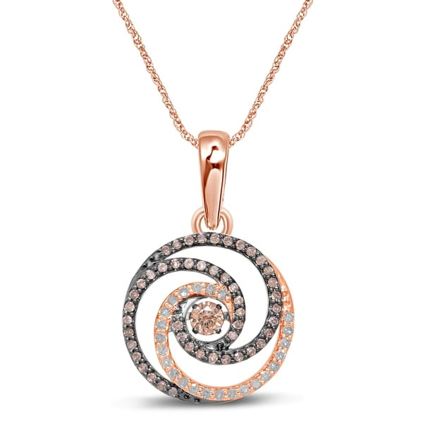 9c03908336cb ... Diamond Necklaces. Unending Love 10k White   Rose Gold Dancing 3 8 ctw  Champagne  amp  White