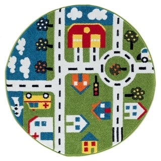 "LR Home Whimsical City Green / Cream Kids Area Rug ( 4'8"" Round )"