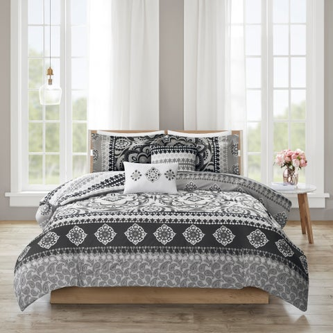 510 Design Kori Charcoal 5 Piece Reversible Print Duvet Set