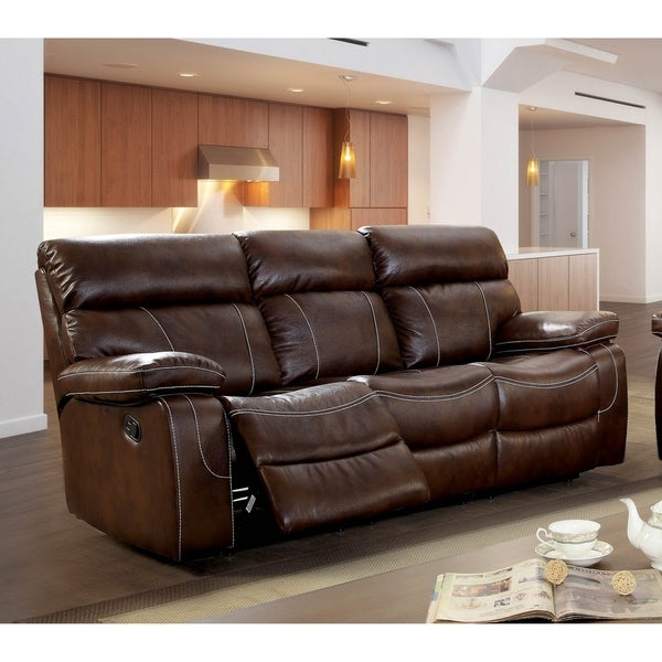 Furniture of America Loos Transitional Upholstered Reclining Sofa