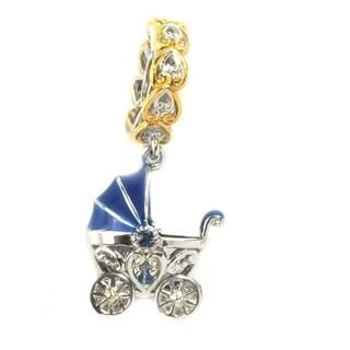 Michael Valitutti Palladium Silver Light Blue Sapphire Baby Carriage Charm