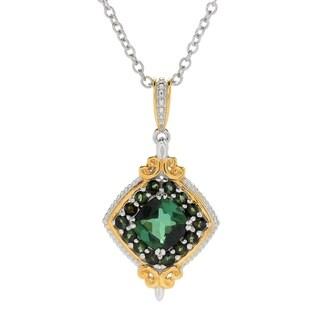 Michael Valitutti Palladium Silver Green Tourmaline Diamond Shaped Halo Pendant