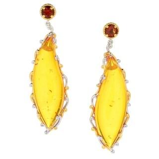 Michael Valitutti Palladium Silver Orange Amber and Madeira Citrine Dangle Earrings