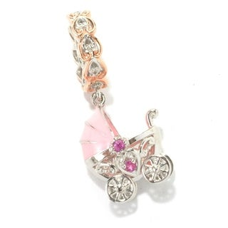 Michael Valitutti Palladium Silver Hot Pink Sapphire Baby Carriage Charm