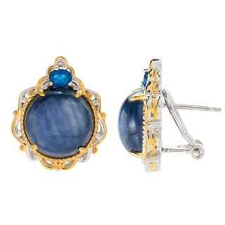 Michael Valitutti Palladium Silver Kyanite and Neon Apatite Stud Earrings