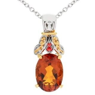 Michael Valitutti Palladium Silver Madeira Citrine and Dark Orange Sapphire Pendant
