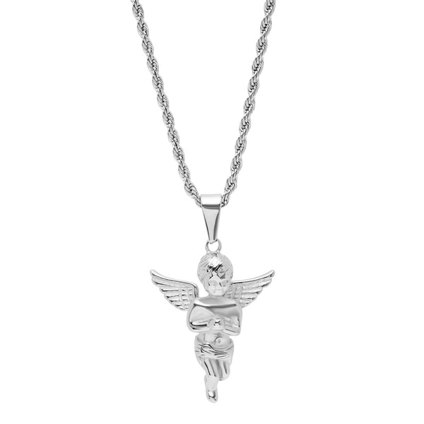 Shop Steeltime Men\'s Stainless Steel Angel Pendant in 2 Colors - On ...