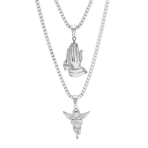 Steeltime Men's Stainless Steel Double Layered Prayer Hands and Angel Pendant Necklaces in 2 Colors
